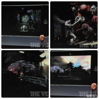 虚幻引擎所有者,Epic Games公司的Mike Capps上台演示游戏,介绍Infinity Blade 2。