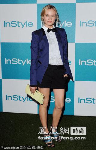 黛安·克鲁格:蓝色西服配上小蝴蝶礼结和短裤帅气又性感.-明星也图片