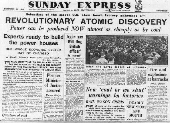 """""""曼哈顿计划""""还在测试期间,美国国内媒体就已经开始宣传核弹的光明前景:会为普通民众带来更加廉价、清洁并且安全的能源。图为1946年《星期日快报》的一篇报道。"""