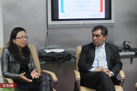 中国国际贸易学会国际品牌管理中心副主任、财富品质研究院院长周婷与意大利外贸委员会首代赖世平