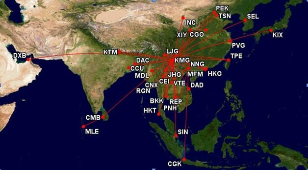 此外,在东南亚航线上构建中午13,14点出港航班波及建立通过昆明在国内