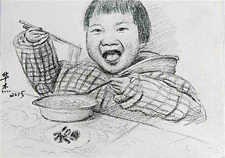 80后父亲画30多幅素描 记录女儿成长图片